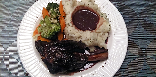 Red Wine and Juniper braised lamb shanks